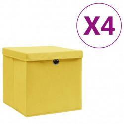 Sonata Кутии за съхранение с капаци 4 бр 28x28x28 см жълти - Продукти за съхранение