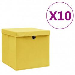 Sonata Кутии за съхранение с капаци 10 бр 28x28x28 см жълти - Продукти за съхранение