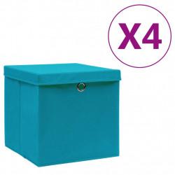 Sonata Кутии за съхранение с капаци 4 бр 28x28x28 см бебешко сини - Продукти за съхранение
