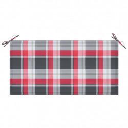 Sonata Възглавница за градинска пейка червено каре 100x50x4 см плат - Градински Дивани и Пейки