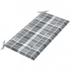 Sonata Възглавница за градинска пейка сиво каре 100x50x4 см плат - Градински Дивани и Пейки