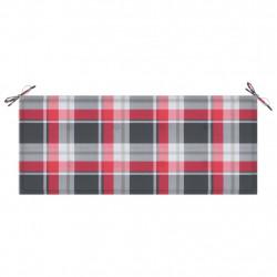 Sonata Възглавница за градинска пейка червено каре 120x50x4 см плат - Градински Дивани и Пейки