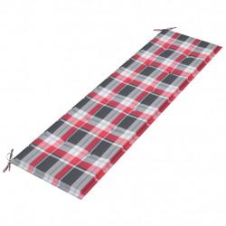 Sonata Възглавница за градинска пейка червено каре 180x50x4 см плат - Градински Дивани и Пейки
