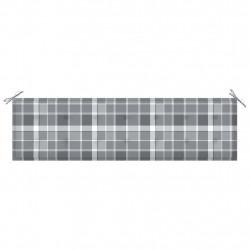 Sonata Възглавница за градинска пейка сиво каре 180x50x4 см плат - Градински Дивани и Пейки