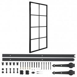 Sonata Плъзгаща врата, алуминий и ESG стъкло с хардуер, 76x205 см - Механизми