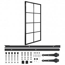 Sonata Плъзгаща врата, алуминий и ESG стъкло с хардуер, 90x205 см - Механизми
