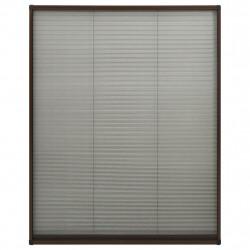 Sonata Алуминиев плисе комарник за прозорци, кафяв, 110x160 см - Дограми и Комарници
