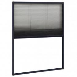 Sonata Алуминиев плисе комарник за прозорци, антрацит, 60x80 см - Дограми и Комарници