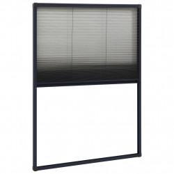 Sonata Алуминиев плисе комарник за прозорци, антрацит, 80x120 см - Дограми и Комарници