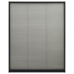 Sonata Алуминиев плисе комарник за прозорци, антрацит, 110x160 см - Дограми и Комарници