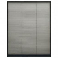 Sonata Алуминиев плисе комарник за прозорци, антрацит, 100x160 см - Дограми и Комарници