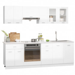 Sonata Комплект кухненски шкафове от 8 части, бял гланц, ПДЧ - Сравняване на продукти
