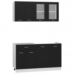 Sonata Комплект кухненски шкафове от 4 части, черен, ПДЧ - Сравняване на продукти