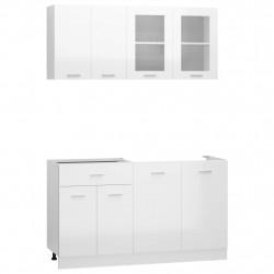 Sonata Комплект кухненски шкафове от 4 части, бял гланц, ПДЧ - Сравняване на продукти