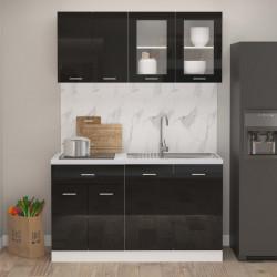 Sonata Комплект кухненски шкафове от 4 части, черен гланц, ПДЧ - Сравняване на продукти
