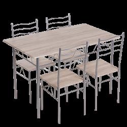 Комплект маса с 4 стола модел Memo-20015 - дъб сонома - Комплекти маси и столове