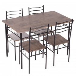 Комплект маса с 4 стола модел Memo-20015 - орех - Комплекти маси и столове
