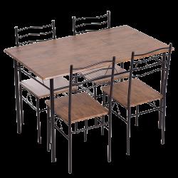 Комплект маса с 4 стола модел Memo-20015 - палисандър - Комплекти маси и столове