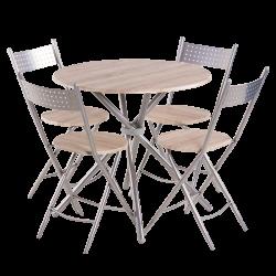 Комплект маса с 4 сгъваеми стола модел Memo-20016 - дъб сонома - Комплекти маси и столове