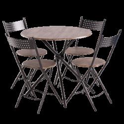 Комплект маса с 4 сгъваеми стола модел Memo-20016 - орех - Комплекти маси и столове