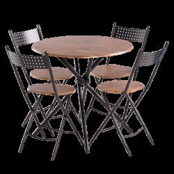 Комплект маса с 4 сгъваеми стола модел Memo-20016 - палисандър - Комплекти маси и столове