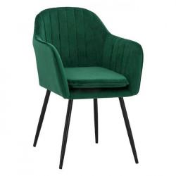 Кресло Soiyr  с черни крака, зелено кадифе - Мебели Богдан