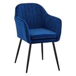 Кресло Soiyr  с черни крака, синьо кадифе - Мебели Богдан