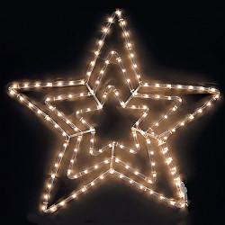 Тройна звезда, 120 топло бели LED лампички - Сезонни и Празнични Декорации