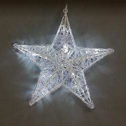 Звезда обемна, силиконова фигура - 16 бели LED лампички - Сезонни и Празнични Декорации