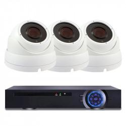 Комплект за видеонаблюдение с 3 Full HD куполни IP камери и NVR - Видеонаблюдение и Алармени системи