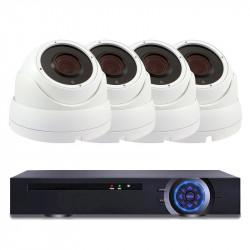 Комплект за видеонаблюдение с 4 Full HD куполни IP камери и NVR - Видеонаблюдение и Алармени системи