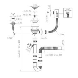 Добавка на автоматичен сифон за еднокоритна мивка, 22-00 - Кухненски аксесоари и прибори