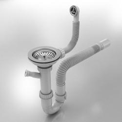 Сифон за еднокоритна мивка, 22-91 - Кухненски аксесоари и прибори