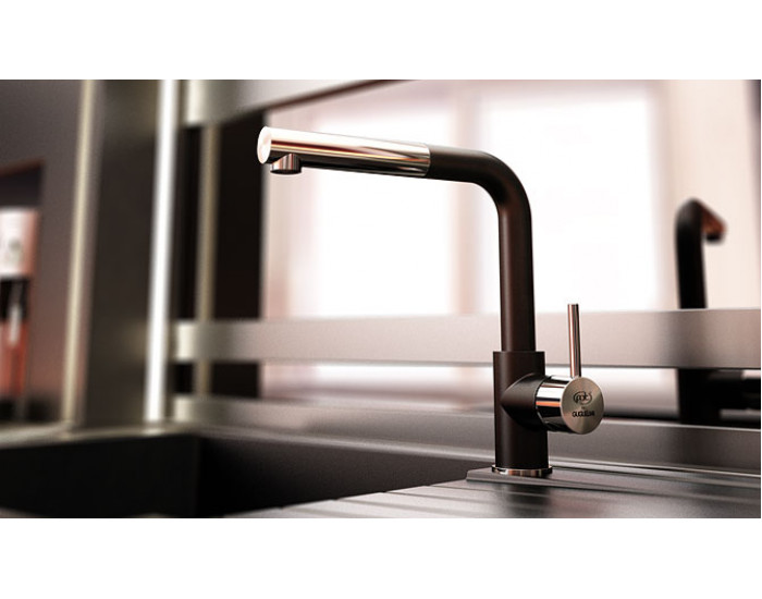 Смесител за кухня с изтеглящ се душ Impact 68936, Fat Granite, 1008 Черен металик
