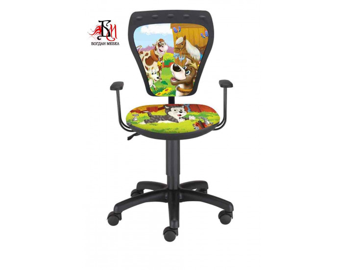 Детски работен стол Мебели Богдан модел Мини Ферма, с подлакътници - Детски столове