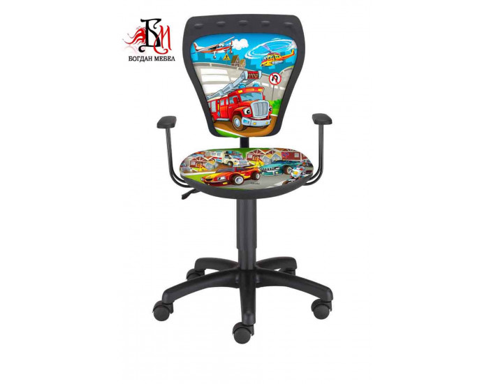 Детски работен стол Мебели Богдан модел Мини Сити, с подлакътници - Детски столове