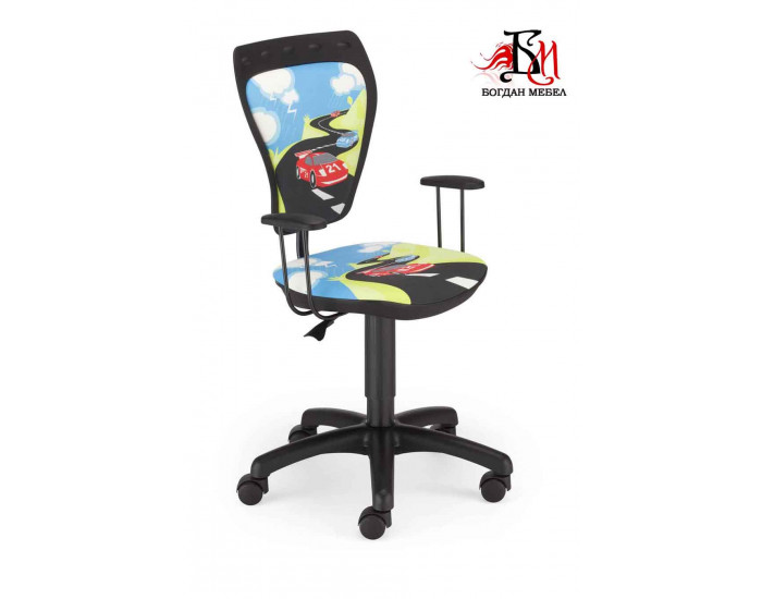 Детски стол Мебели Богдан модел Мини Коли на път, с подлакътници - Детски столове