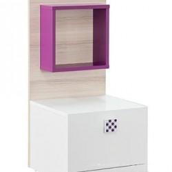 Нощно шкафче Memo.bg модел Тренд 1, Бяло с виолет - Sonata T