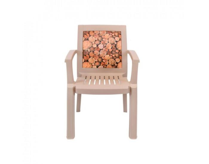 Градински стол N Furniture модел Мелиса Капучино, полипропилен, с подлакътници, капучино - Градински столове