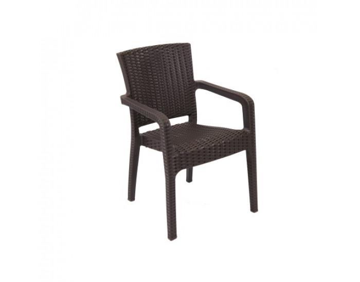 Градински стол N Furniture модел Лилиум, отливка ратан, с подлакътници, кафяв - Градински столове