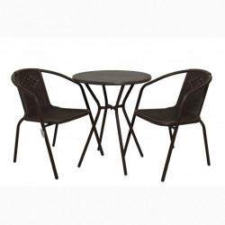 Градински комплект Маса с 2 стола N Furniture модел Диам, кафяв - Градински комплекти
