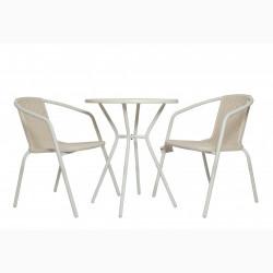 Градински комплект Маса с 2 стола N Furniture модел Диам, бял - Градински комплекти