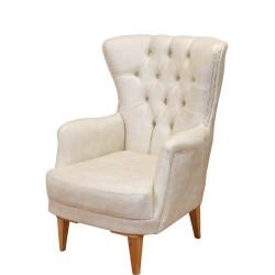 Фотьойл N Furniture модел Честър, с подлакътници, бял -