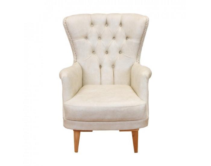 Фотьойл N Furniture модел Честър, с подлакътници, бял - Дивани