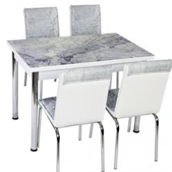 Комплект Маса с 4 Стола модел CB052, принтстъкло - Комплекти маси и столове