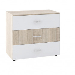 Скрин Memo.bg модел BM028B, с три чекмеджета, Дъб сонома и бяло - Stefany Style