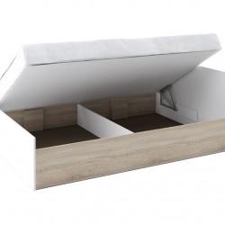 Легло с табла Memo.bg модел BM012B, за матрак 140/200, с повдигащ механизъм, Дъб сонома и бяло - Stefany Style