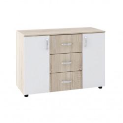Скрин Memo.bg модел BM029B, с три чекмеджета, Дъб сонома и бяло - Stefany Style