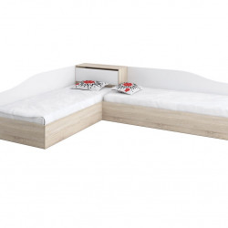 Ъглови легла Memo.bg модел BM005B, за матраци 82/190, Дъб сонома и бяло - Stefany Style