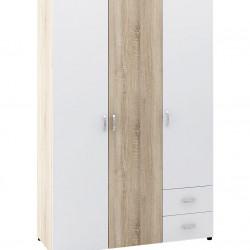 Гардероб Memo.bg модел BM020B, трикрилен, с чекмеджета, Дъб сонома и бяло - Stefany Style